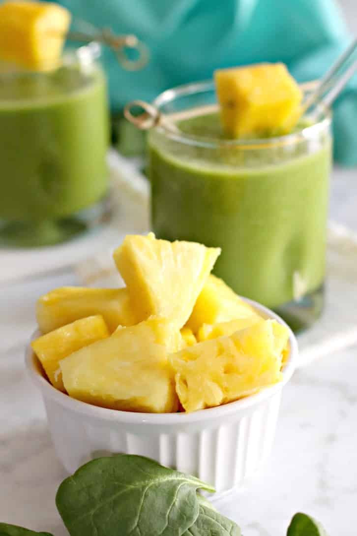 Pineapple Green Smoothie made with fresh pineapple chuncks
