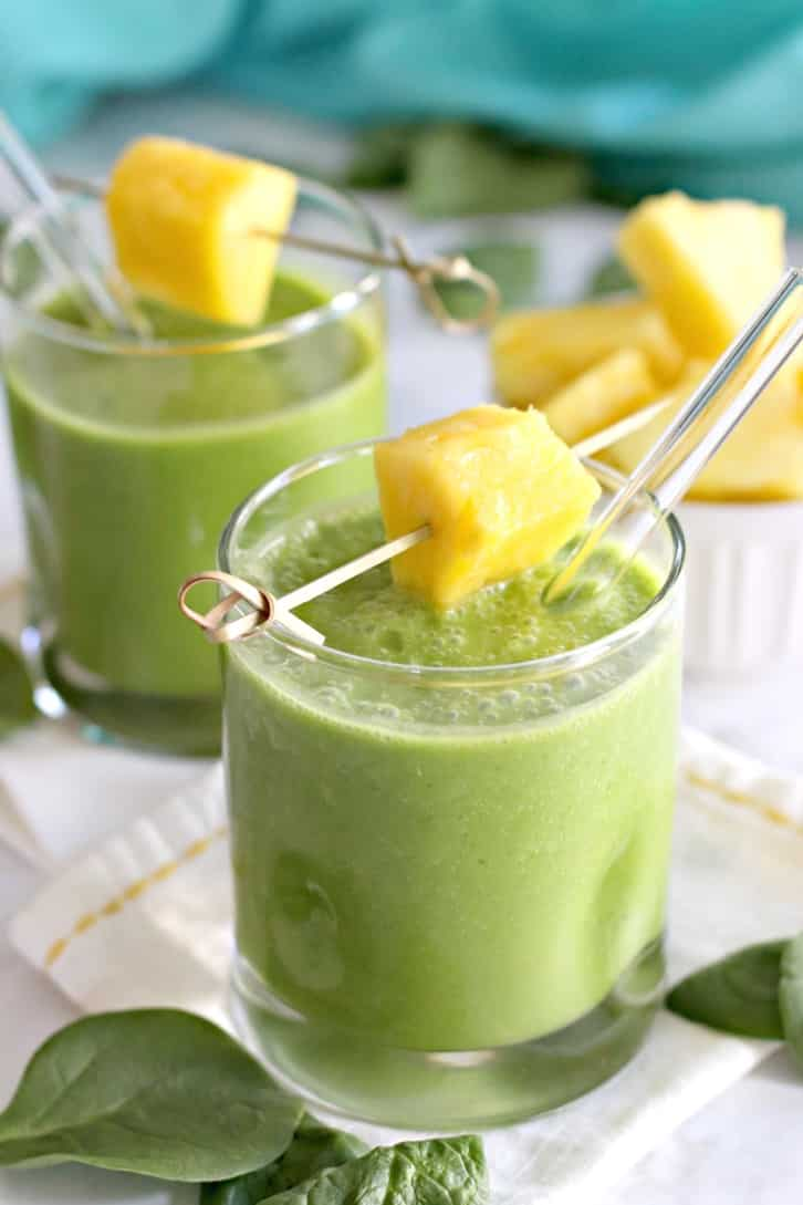 Fresh Pineapple Smoothie garnished with fresh pineapple chunk