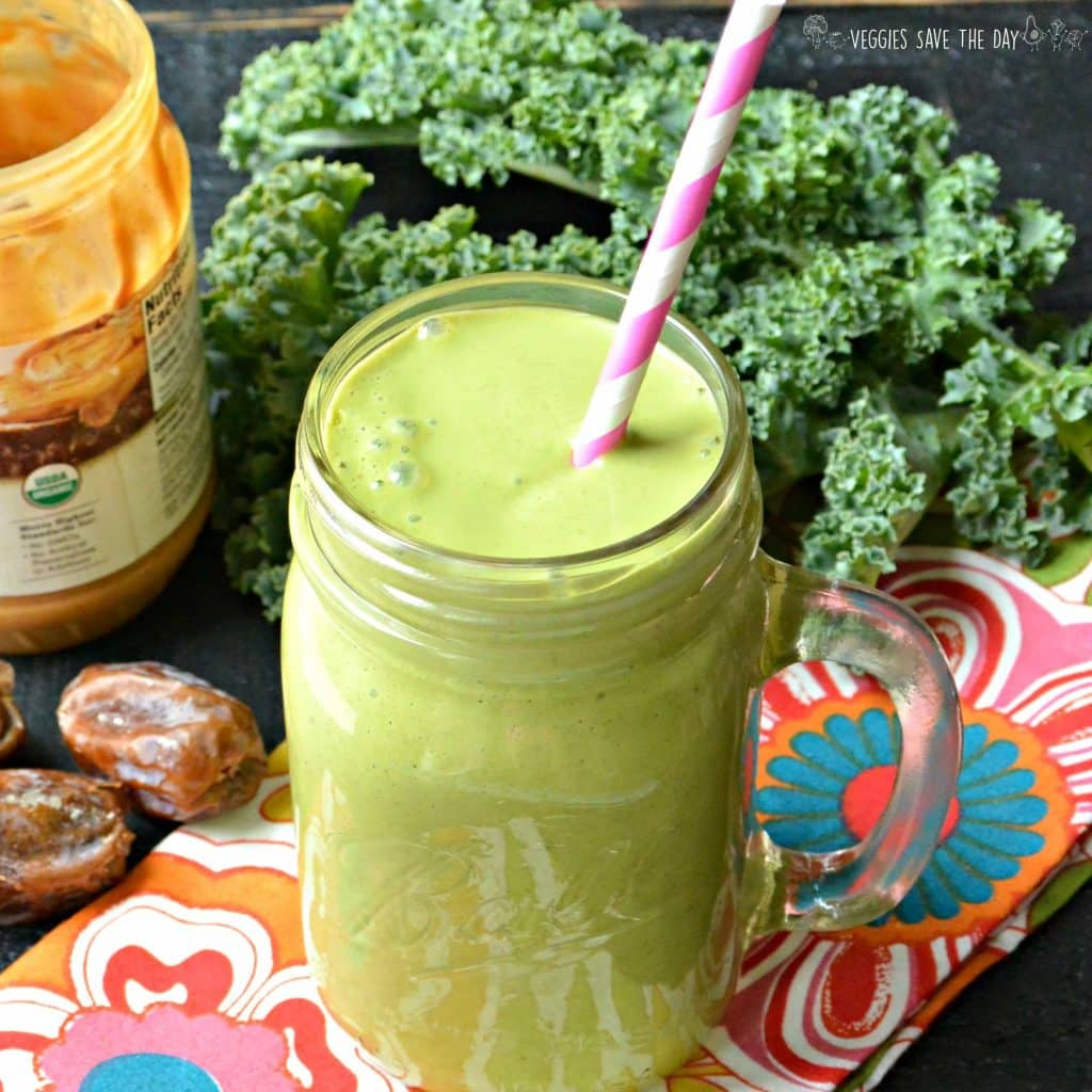 Peanut Butter Green Smoothie tastes like a delicious dessert and looks like a shamrock shake, but it's secretly healthy from kale! Vegan | Gluten Free