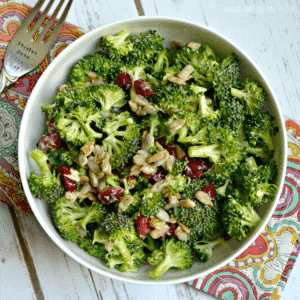 Vegan Broccoli Salad with Cranberries (gluten-free)