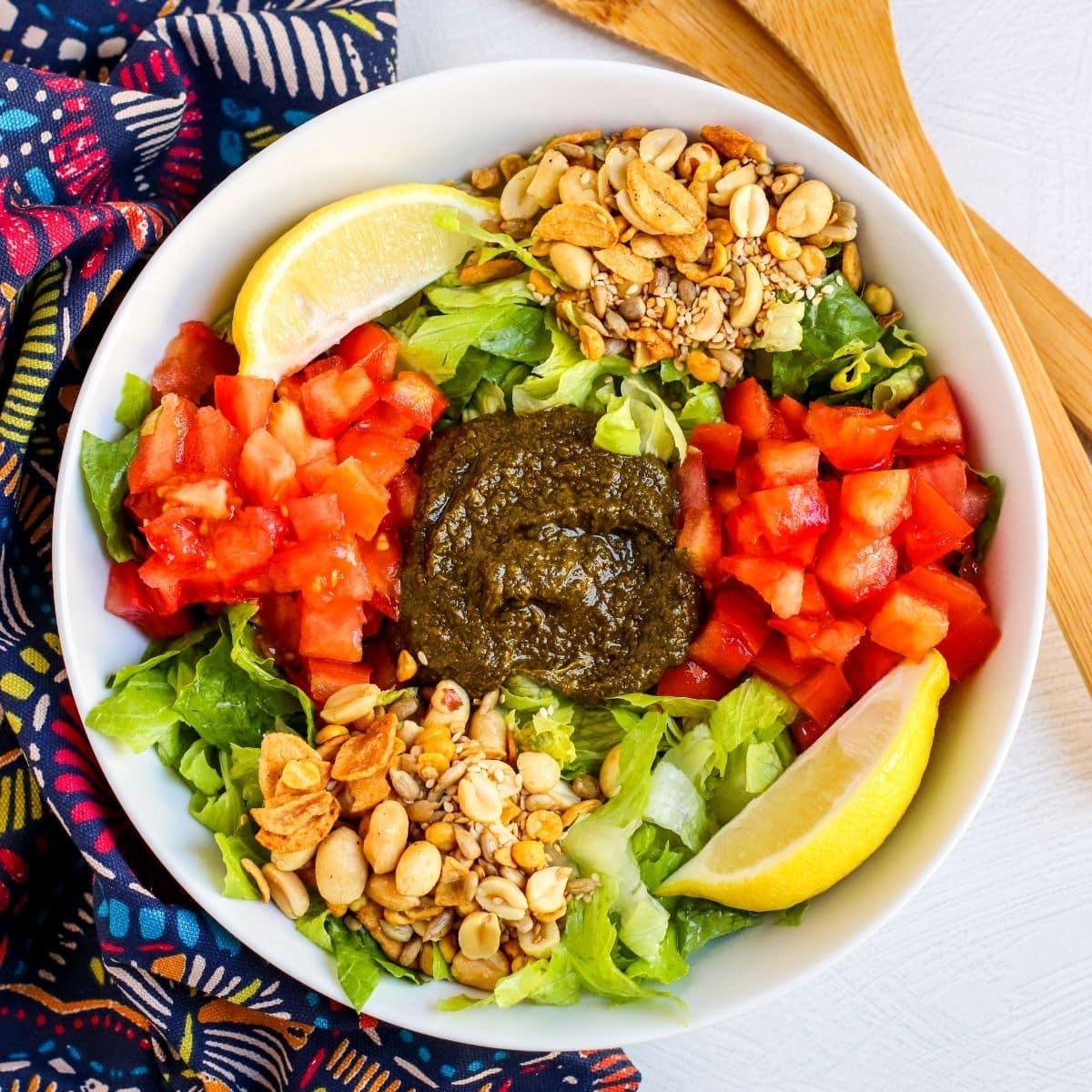 Bowl of Tea Leaf Salad before being tossed