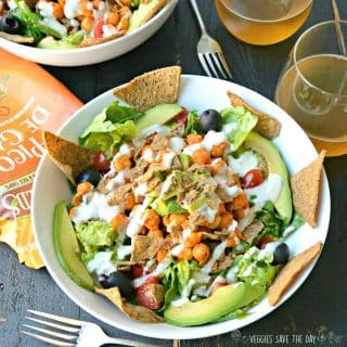 Buffalo Ranch Chickpea Taco Salad combines tangy and spicy flavors with crunchy chips and hearty chickpeas for a satisfying meal. Vegan | Gluten free