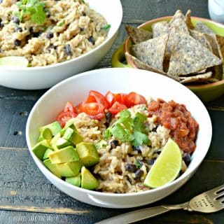 Cilantro Lime Rice and Black Beans is delicious on its own or in tacos, burritos, or bowls served with your favorite toppings like tomatoes or avocados. Learn how to make it by visiting www.veggiessavetheday.com, or pin and save for later! Vegan | Gluten Free