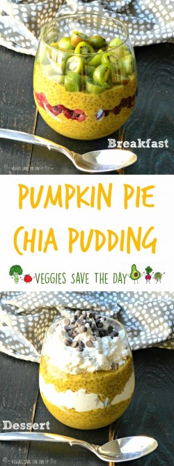 Pumpkin Pie Chia Pudding is perfect for breakfast, a snack or dessert. It's sugar-free, gluten-free, and vegan.