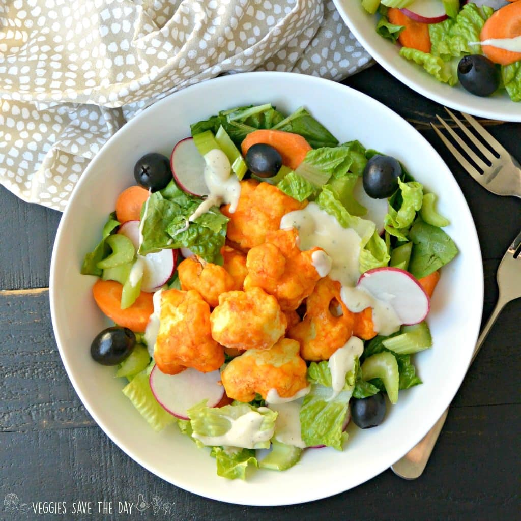 Overhead of bowl of Buffalo Cauliflower Bites Salad