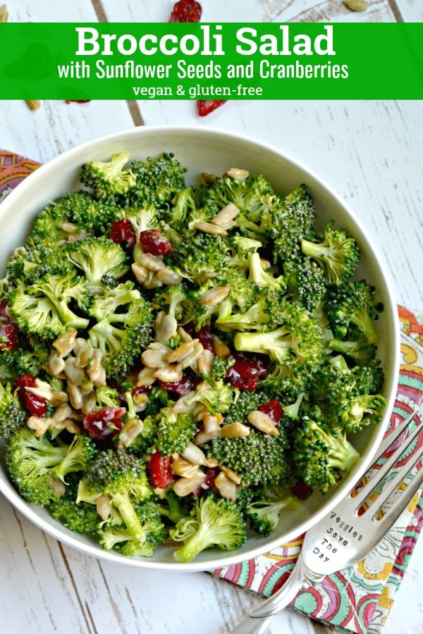 Broccoli Salad with Sunflower Seeds & Cranberries is a lightened up version of a classic American recipe. And it's vegan and gluten free. #broccolisalad #vegan #glutenfree #sunflowerseeds #cranberries #broccoli #salad