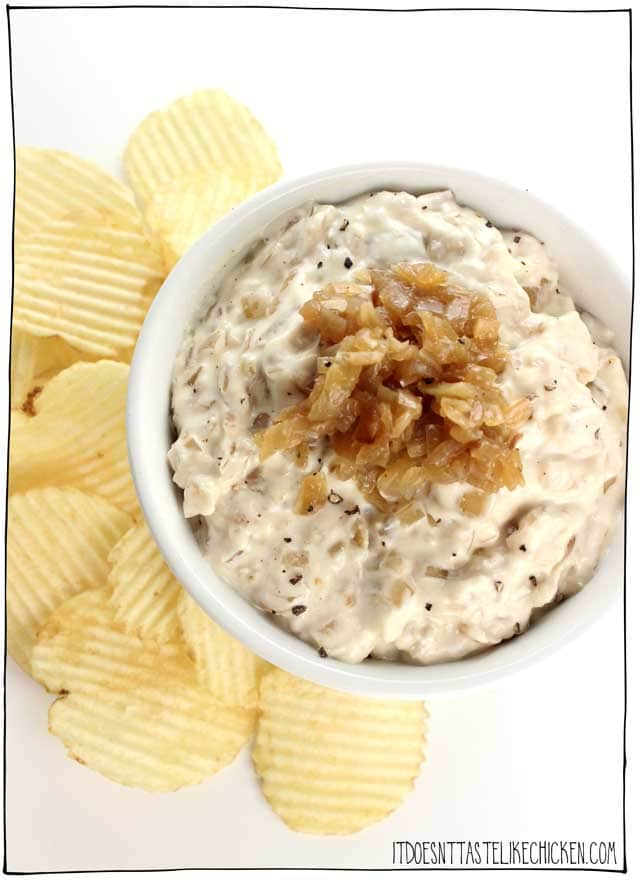 Vegan French Onion Dip with Caramelized Onions served with potato chips