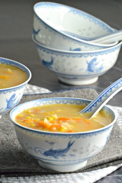 Indo-Chinese Corn Soup (Instant Pot, vegan)