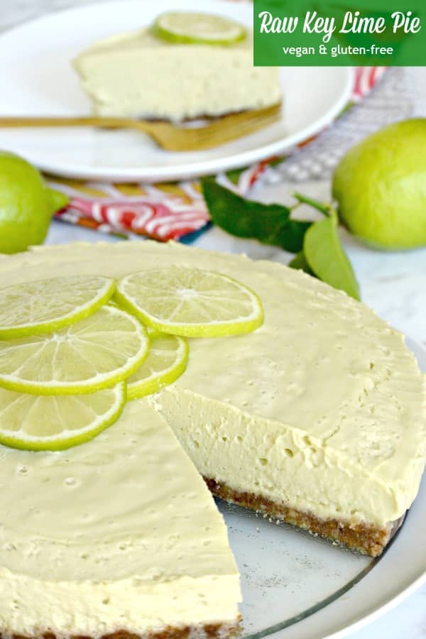 Raw Key Lime Pie is a creamy no-bake dessert. It's vegan, gluten-free, and delicious! It's one of many fabulous recipes from The Blossom Cookbook. #keylimepie #dessert #vegan #glutenfree #nobakedessert