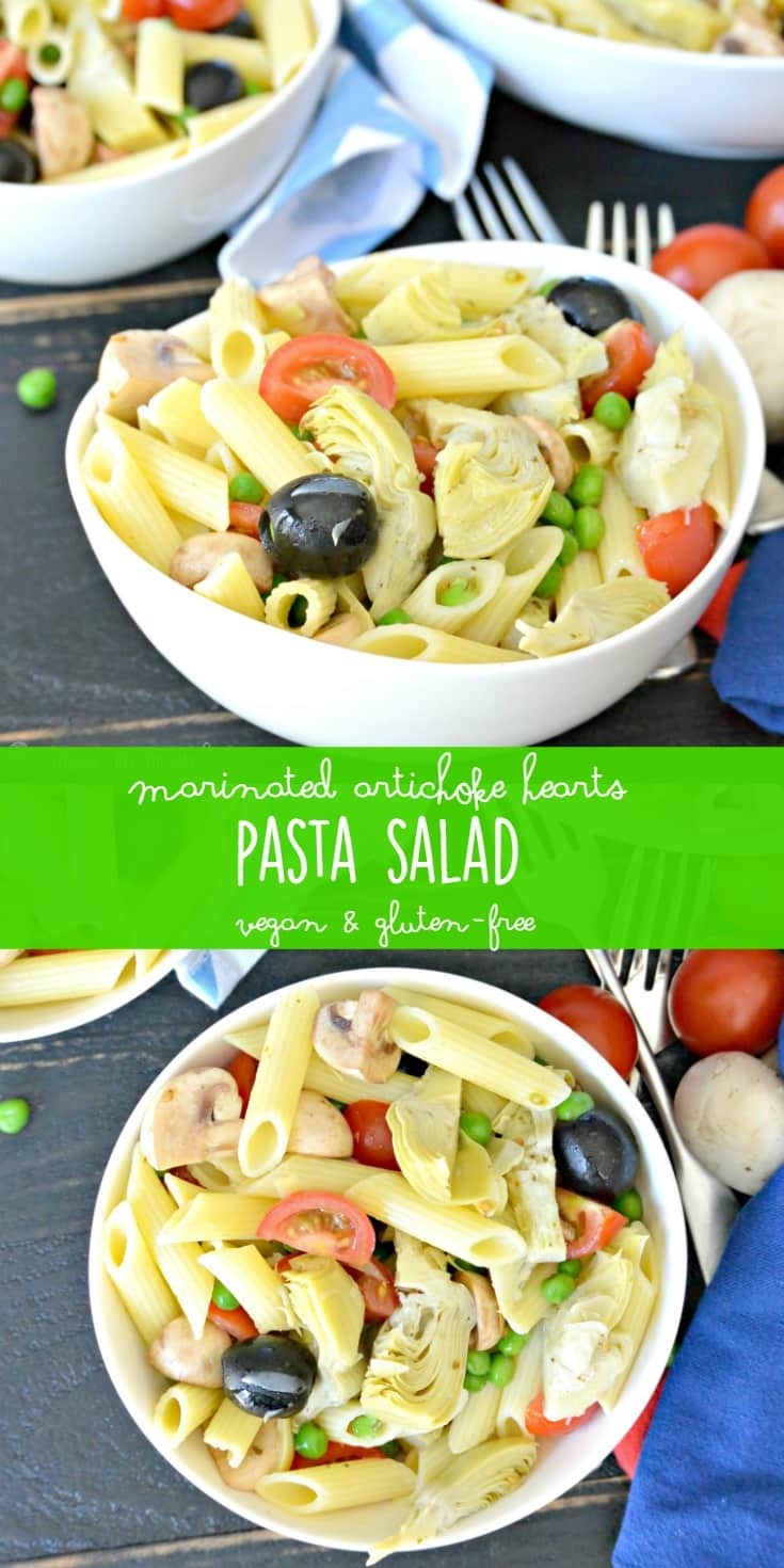 Marinated Artichoke Hearts Pasta Salad is quick and easy to make with only a few ingredients. You can customize it if you prefer different vegetables. It's naturally vegan and can be made gluten-free.