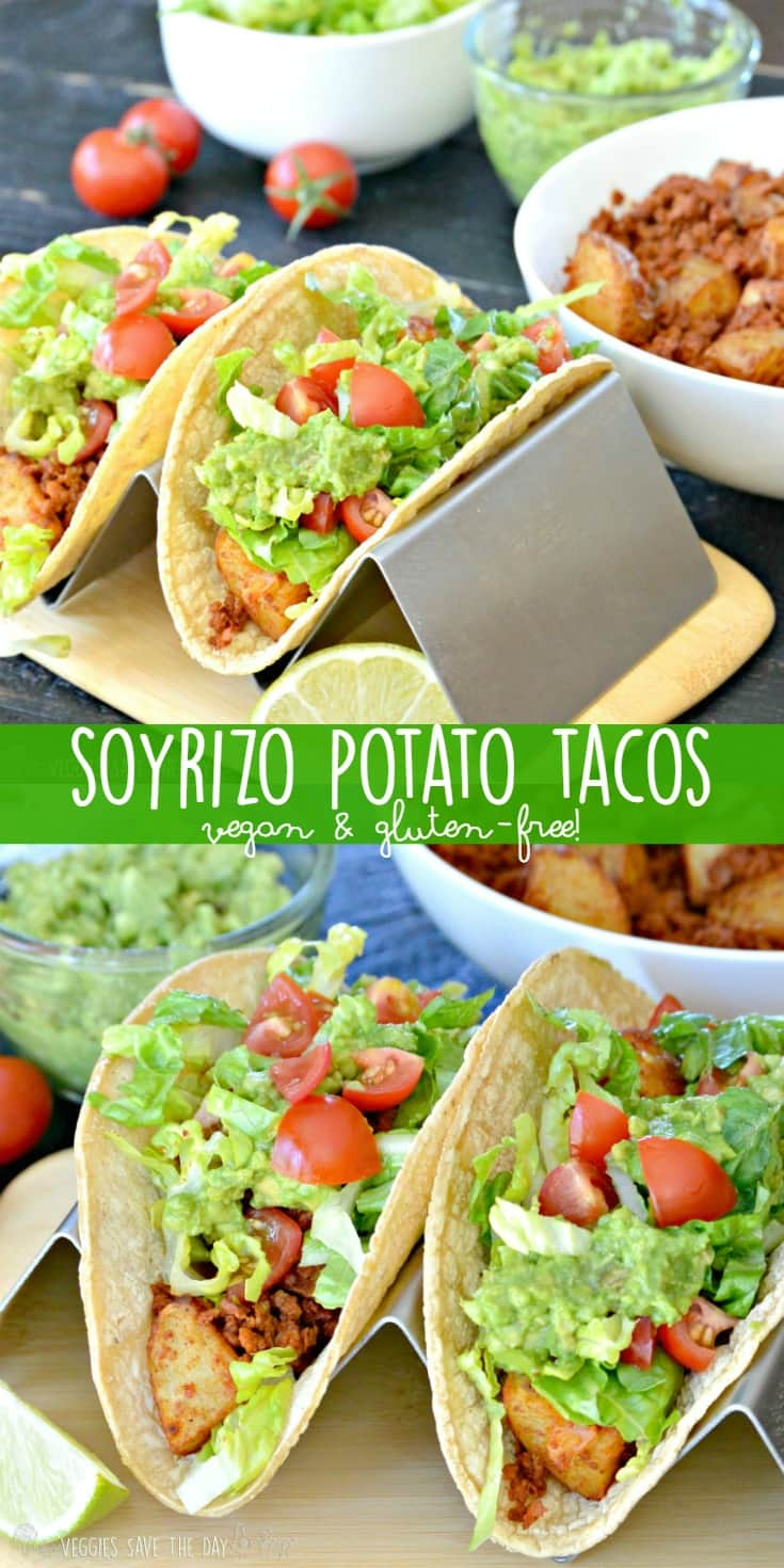 Soyrizo Potato Tacos (made with soy chorizo) are vegan and gluten-free. They are easy to make for Meatless Monday, Taco Tuesday, or any day of the week!