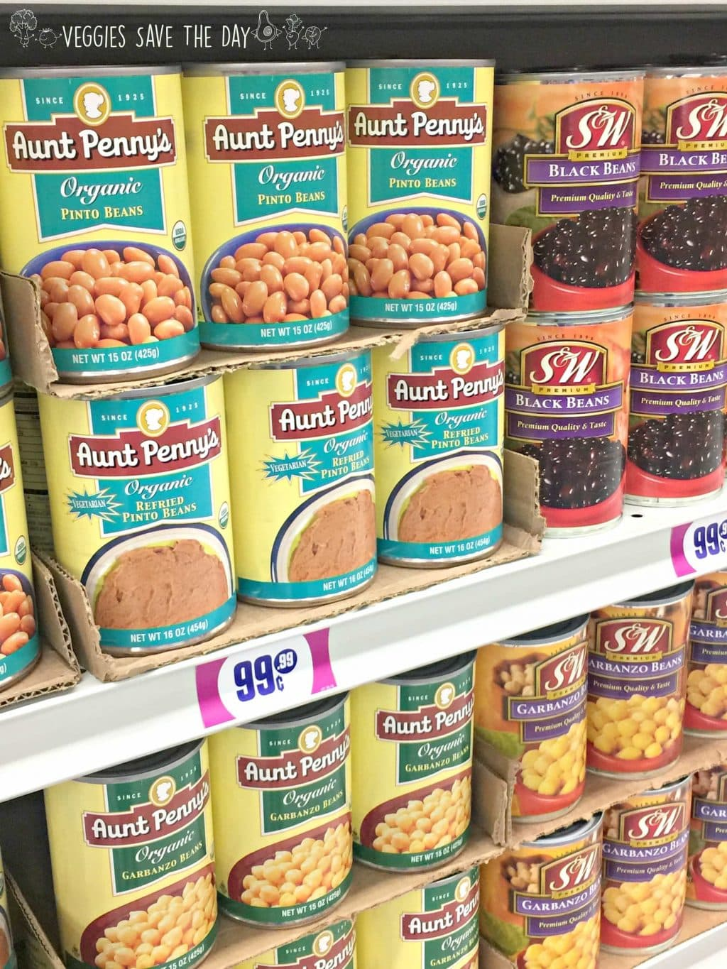 Huge selection of canned beans at the 99 Cents Only Store.