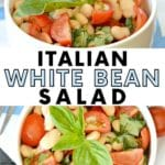 Bowls of bean and tomato salad garnished with fresh basil