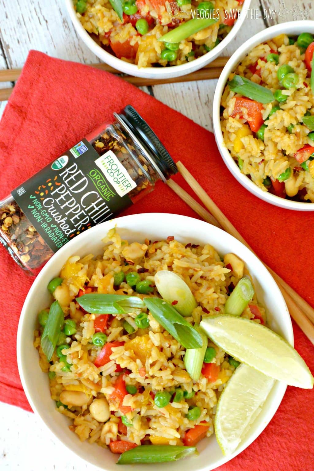 Overhead of Spicy Mango Fried Rice served with Frontier Co-op Organic Crushed Red Chili Flakes
