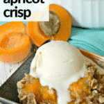 Serving of baked apricot dessert topped with a scoop of vanilla ice cream