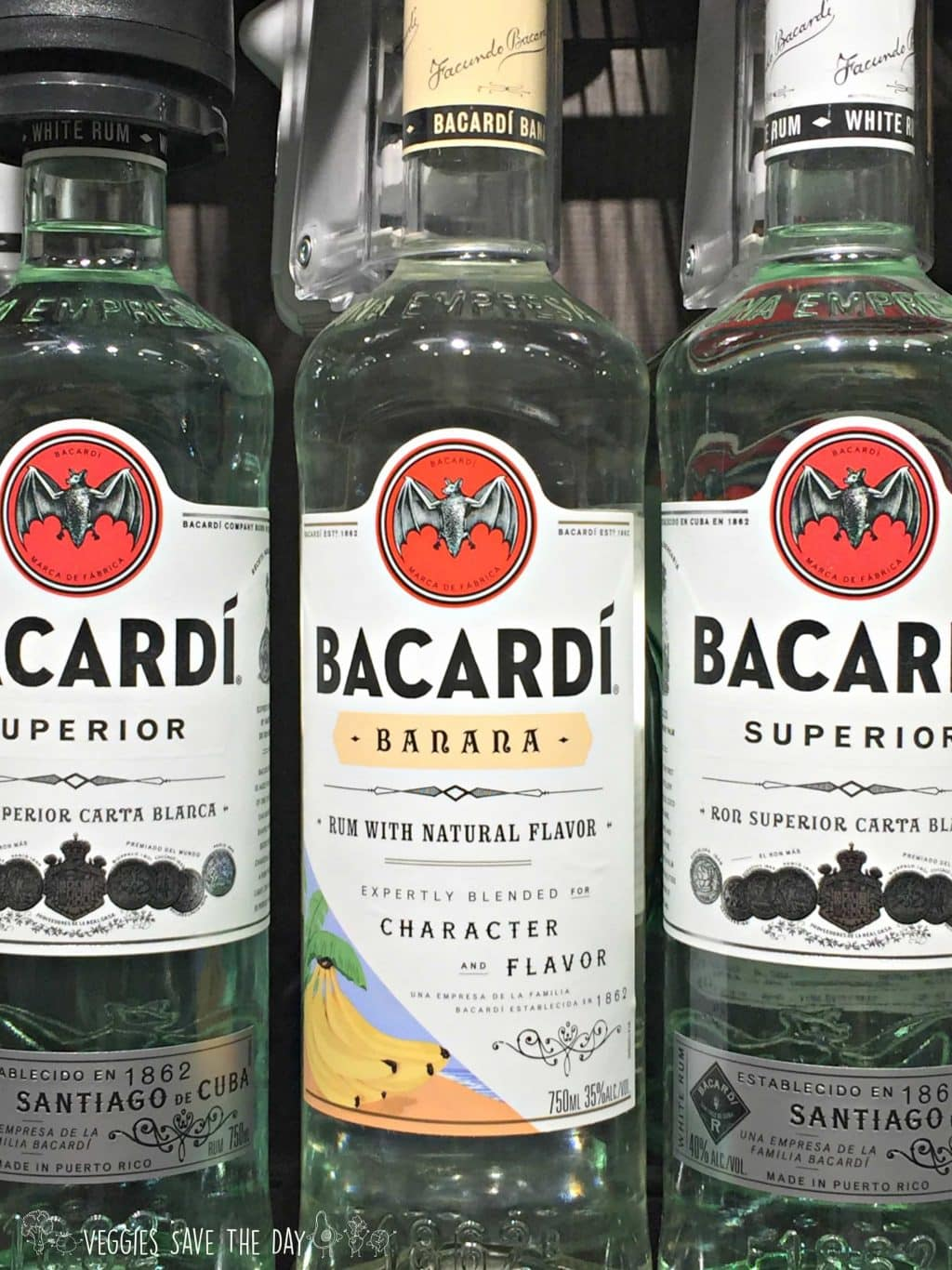 Bottles of Bacardi Superior and Bacardi Banana rum