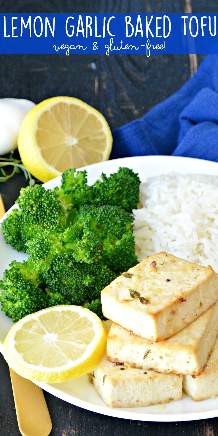 Lemon Garlic Baked Tofu is a flavorful recipe that's easy to make. It's naturally vegan and gluten-free. Enjoy it with your favorite grain and vegetable for a healthy meal.