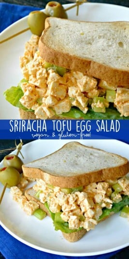 Traditional egg salad gets a tasty makeover with this vegan version! Sriracha Tofu Egg Salad can be made as spicy as you like. It's delicious as a sandwich or salad topping. #vegan #tofu #sriracha #glutenfree