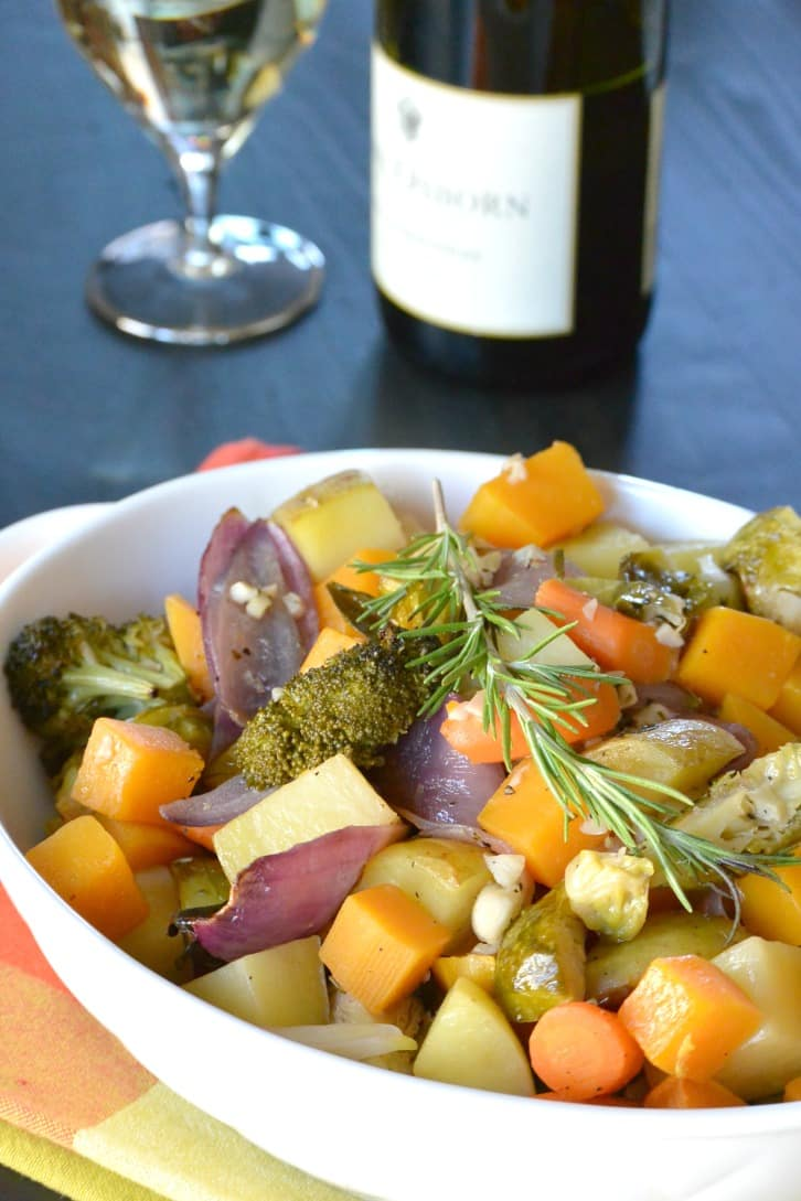 White Wine Roasted Vegetables with a glass of Chardonnay