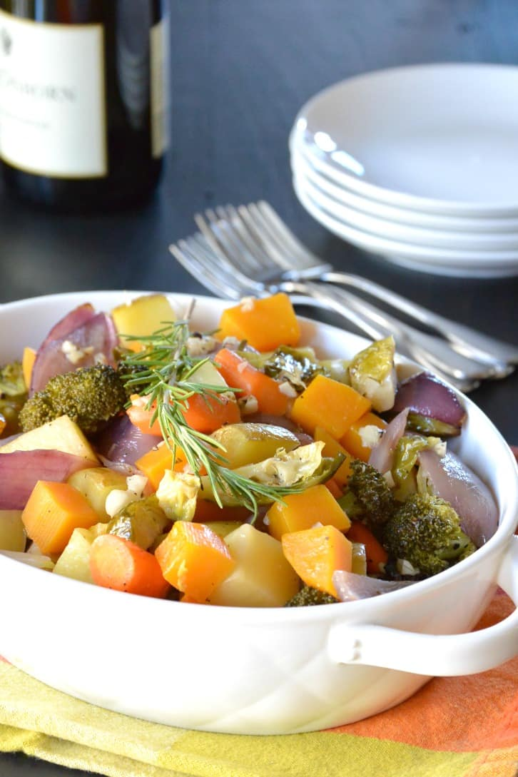 White Wine Roasted Vegetables with potatoes, carrots, butternut squash, broccoli, Brussels sprouts, garlic, and rosemary