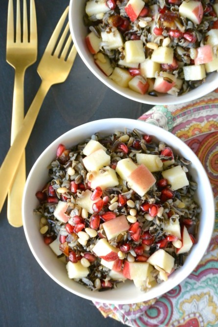 Overhead view of Wild Rice Salad with Apple and Pomegranate
