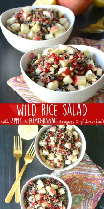 Wild Rice Salad with Apple and Pomegranate is an easy to make salad with fabulous flavors. It also contains pine nuts, dates, and a tangy dressing. Enjoy it for lunch or serve it as a side during the holidays. #vegan #glutenfree #wildrice #salad
