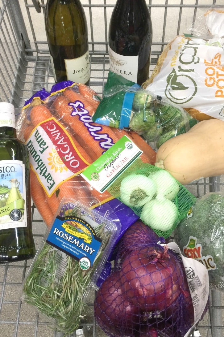 Ingredients purchased during the Grocery Outlet Wine Sale to make White Wine Roasted Vegetables