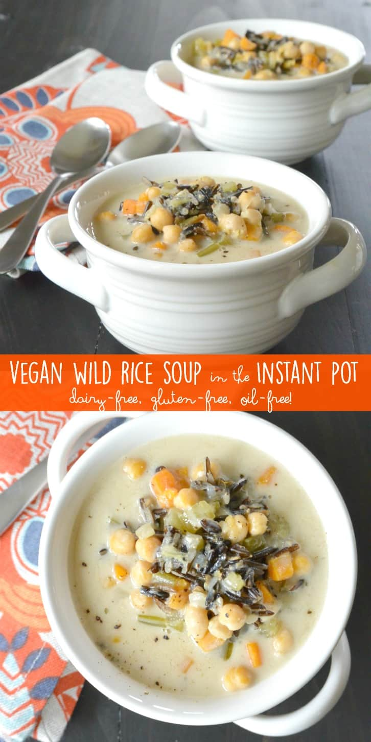 Vegan Wild Rice Soup is easy to make in the Instant Pot pressure cooker. It's creamy and comforting while being dairy-free, gluten-free, and oil-free.