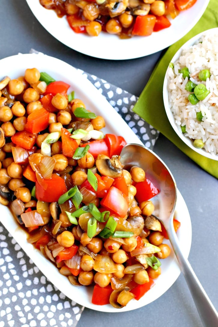 Chickpea Stir Fry served with Jasmine rice