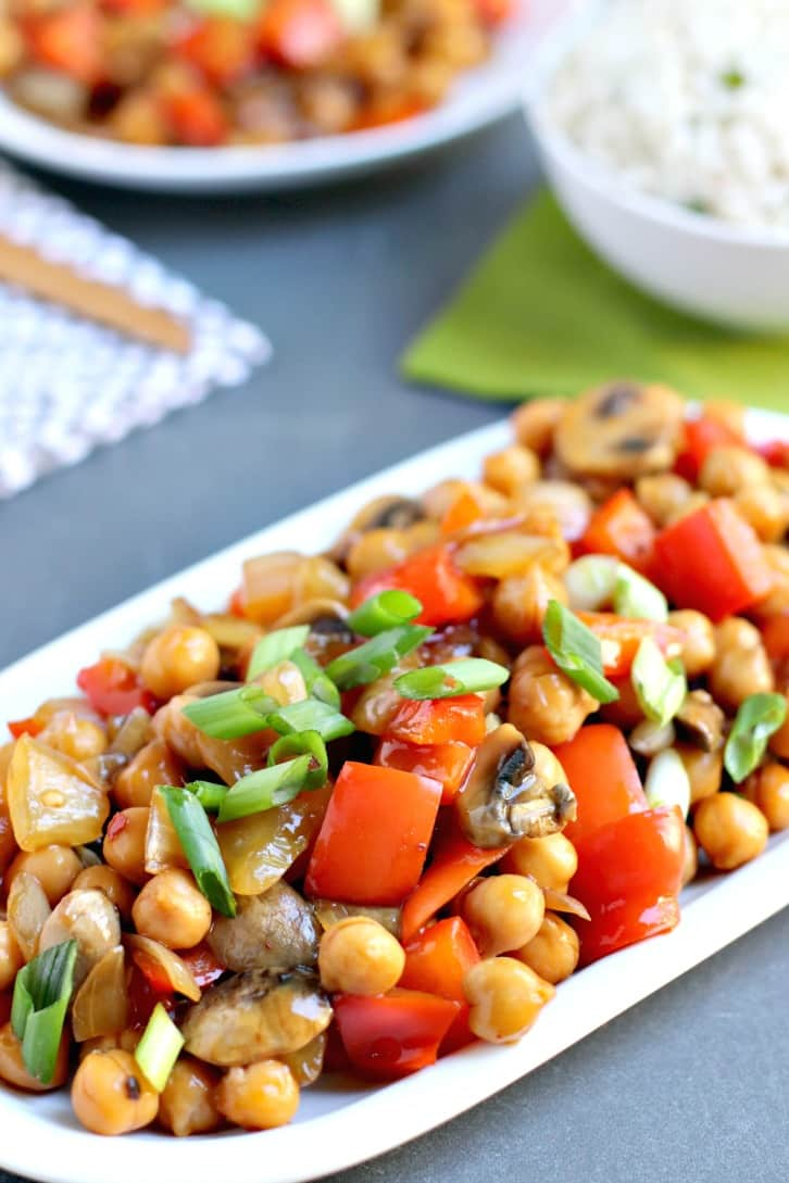 Chickpea Stir Fry made with garbanzo beans and vegetables in a savory sauce