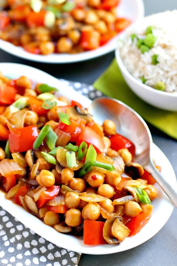 Chickpea Stir Fry comes together in minutes with simple ingredients. It's vegan, gluten-free, and oil-free, and perfect for those who don't like tofu. #chickpeas #stirfry #vegan #glutenfree #oilfree