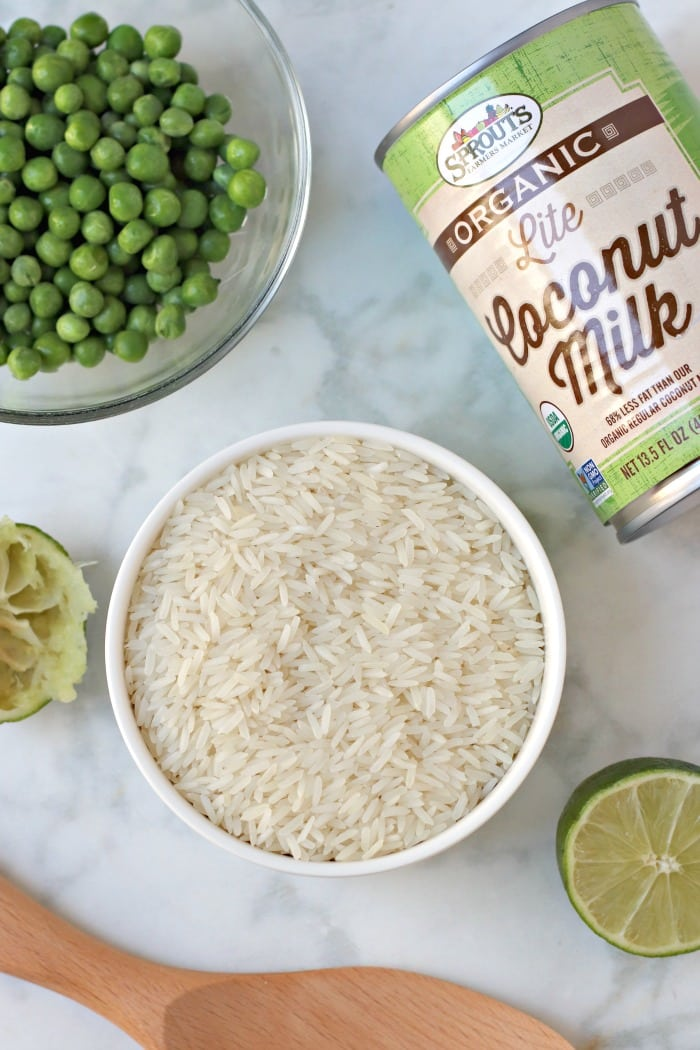 Ingredients used to make Coconut Jasmine Rice: jasmine rice, lite coconut milk, peas, and lime