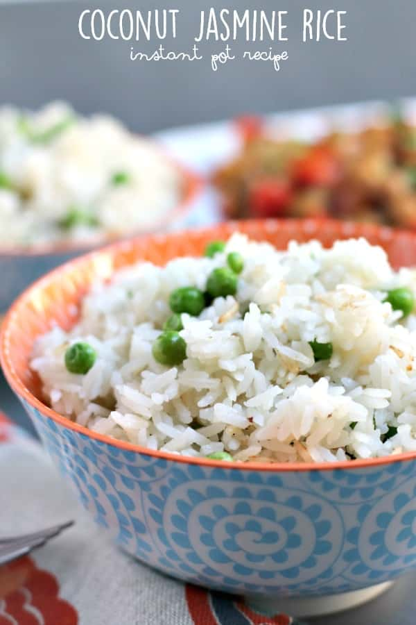 Coconut Jasmine Rice is easy to make in the Instant Pot with only four ingredients. It's a delicious side dish for stir fry and is vegan and gluten-free. #instantpot #coconutrice #vegan #glutenfree