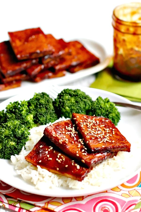 Baked Teriyaki Tofu is flavorful and easy to make in about an hour. Enjoy it with rice and vegetables or your favorite side dishes. It's vegan, gluten-free, and oil-free. #teriyaki #tofu #vegan #glutenfree #oilfree