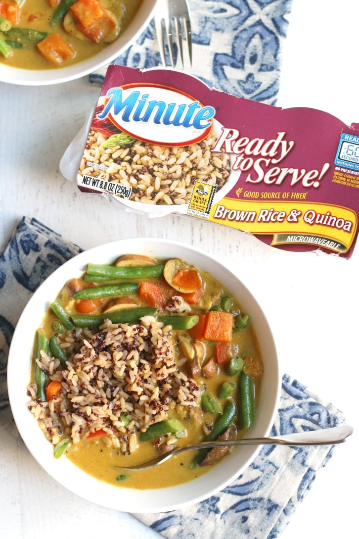 Green Bean Curry (Vegan) with Minute Ready to Serve Brown Rice & Quinoa package