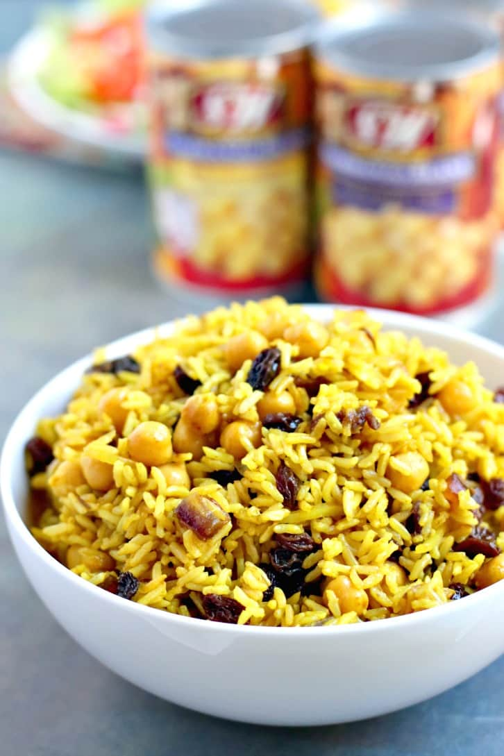 Basmati Rice Pilaf with assorted cans of S&W Garbanzo Beans