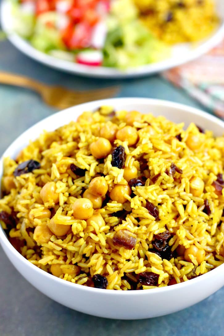 Basmati Rice Pilaf with Chickpeas and Dried Fruit