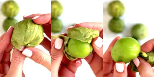Process shots showing how to remove the husk from a tomatillo