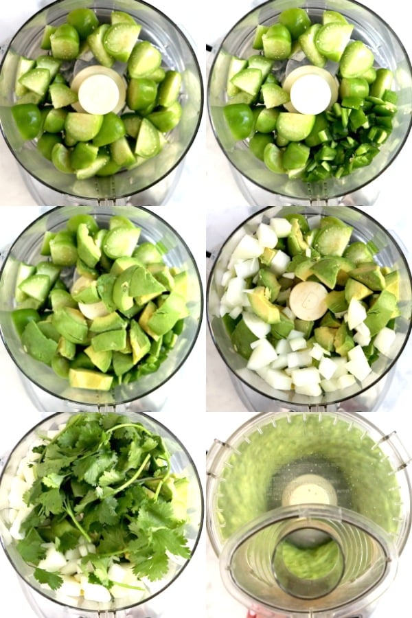 Process shots showing how to make Tomatillo Avocado Salsa in a food processor