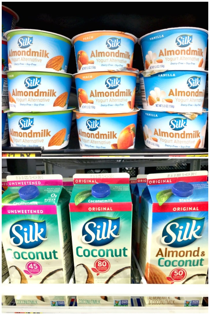 Silk Non Dairy Yogurt Alternative and Coconutmilk from Walmart used to make Vegan Banana Yogurt Pancakes