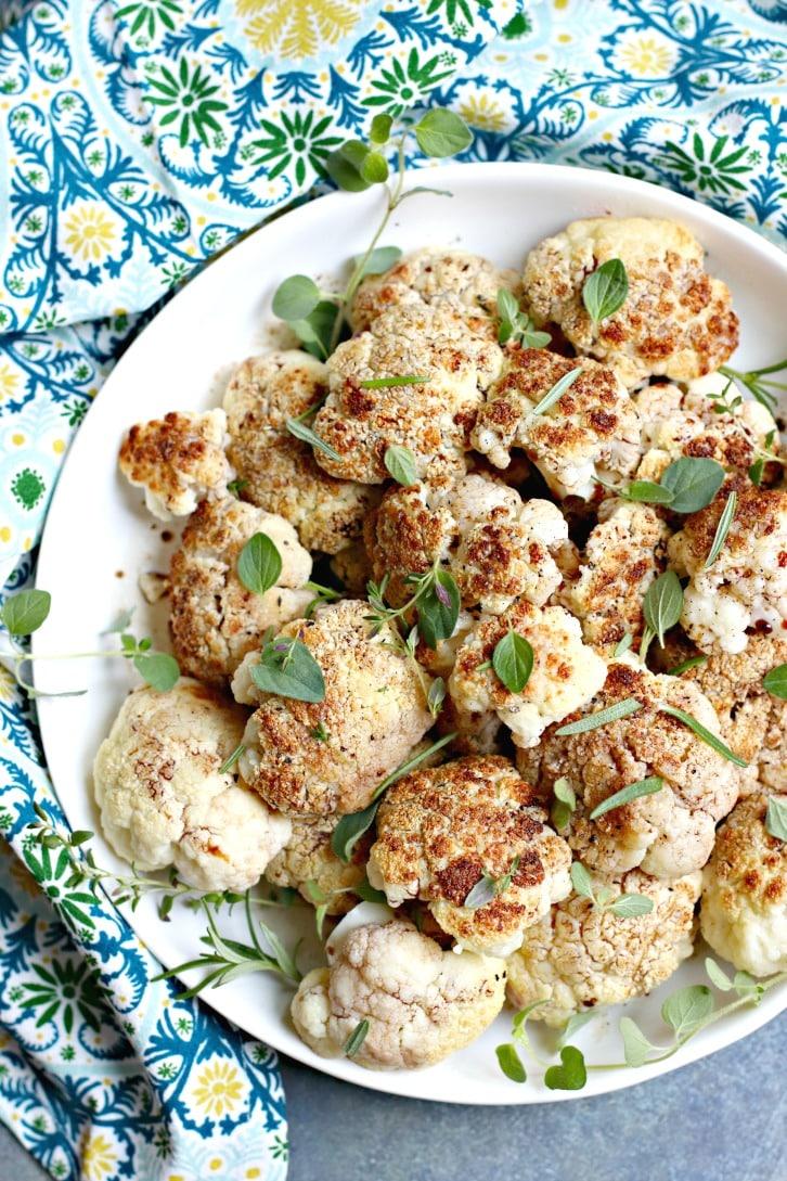 Blackened Balsamic Cauliflower with fresh Italian herbs