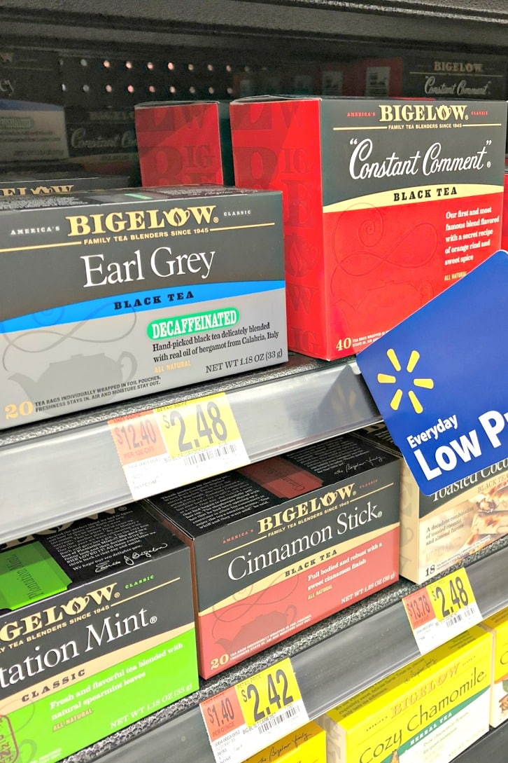 Assorted Bigelow Teas at Walmart used to make Vegan Boba Tea