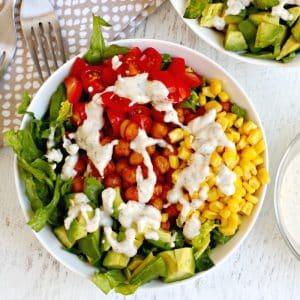 BBQ Ranch Salad with Chickpeas (Vegan)