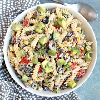 Southwest Pasta Salad with Chipotle Ranch (vegan, gluten-free, oil-free)