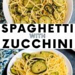 Spaghetti with sauteed slices of zucchini