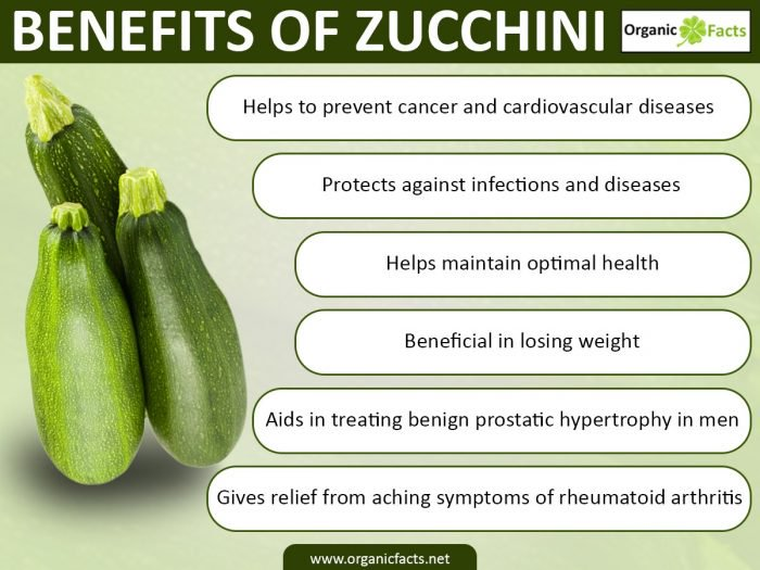 Chart of Benefits of Zucchini