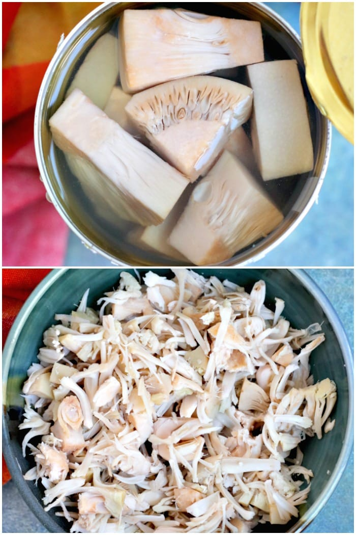 Preparing canned jackfruit to make chili