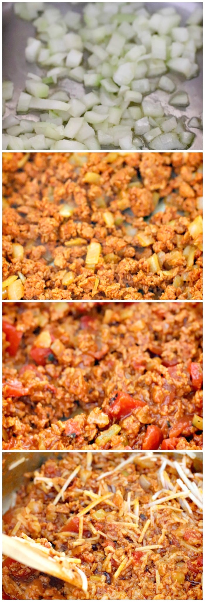 Making Cheesy Taco Pasta with onion, MorningStar Chorizo Crumbles, fire roasted diced tomatoes, and non-dairy shredded pepper jack cheese
