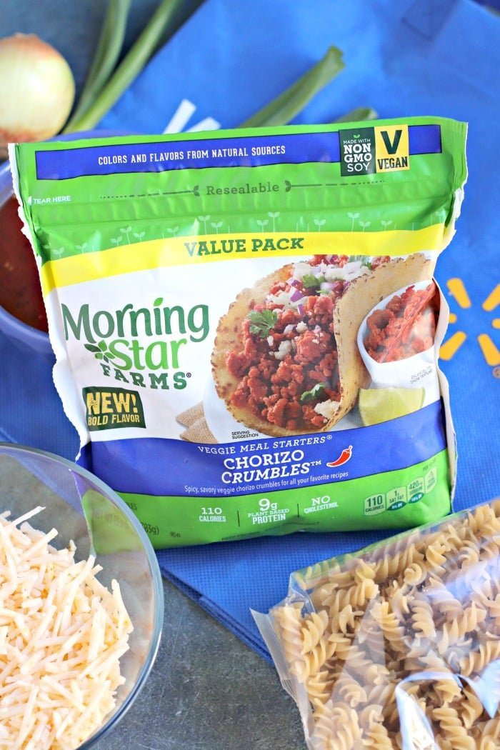 Ingredients to make Cheesy Taco Pasta including MorningStar Farms Chorizo Crumbles from Walmart, non-dairy shredded cheese, and rotini pasta