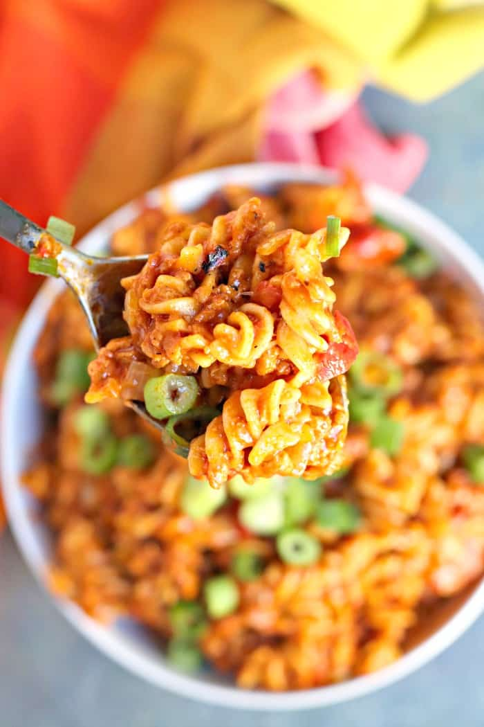 Close up of spoonful of Cheesy Taco Pasta